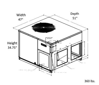 GOODMAN 4 Ton 16 SEER Multi Position Heat Pump GPH1648M41