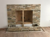 Fireplace stone work complete at new construction in ...