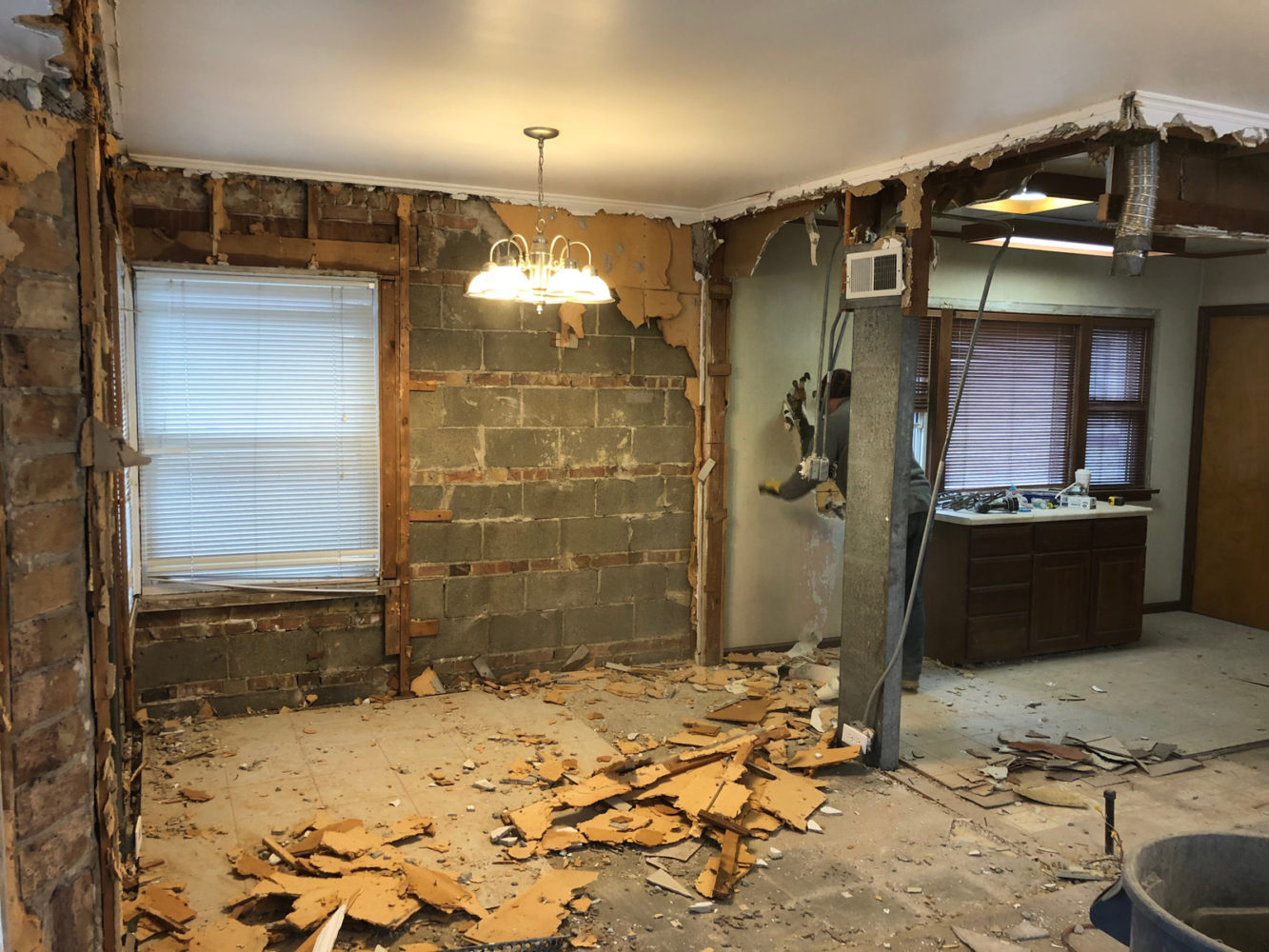 The interior demolition has started on our addition in
