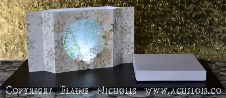 Light up Christmas card centrepiece let it snow