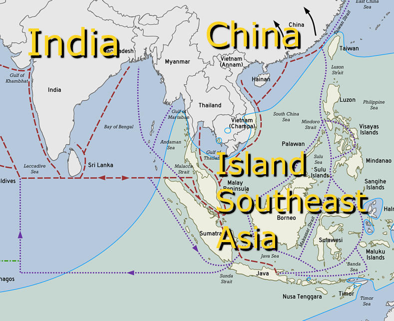 Map of prehistoric Southeast Asia trade routes
