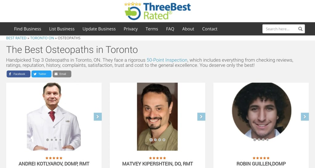 Best Osteopath in Toronto page on the 3 best rated website.