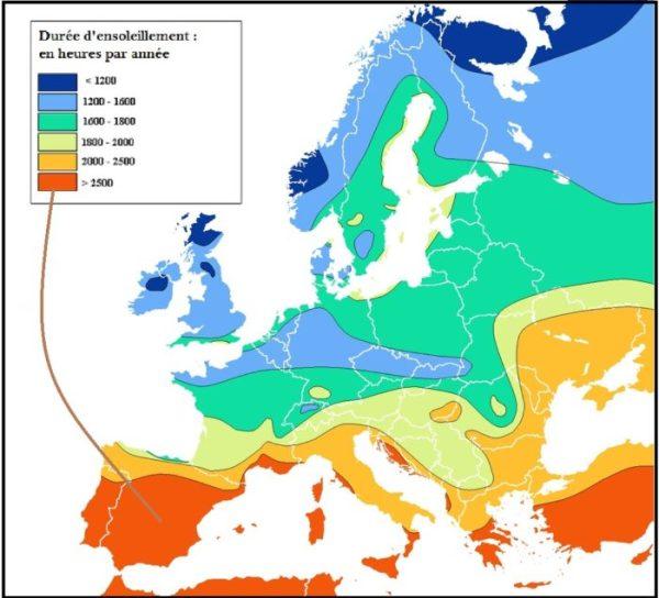 carte ensoleillement Europe immobilier espagne