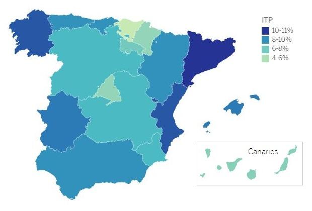 Carte taux ITP acheter immobilier en Espagne