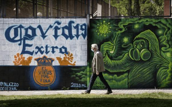 Street Art Covid et Immobilier Coronavirus acheter en Espagne 002