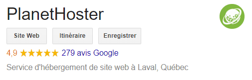 PlanetHoster - Avis Google