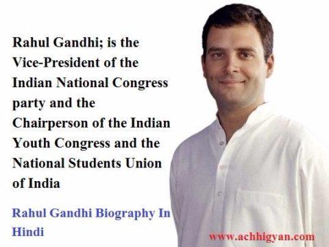 Rahul Gandhi Biography In Hindi