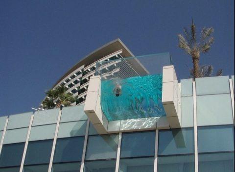 intercontinental hotels dubai festival city glass swimming pool