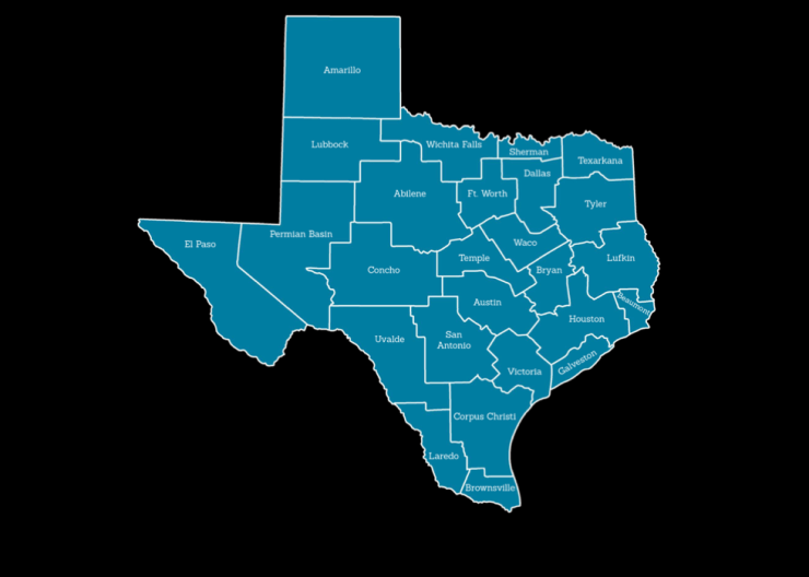 Map of Texas showing regional HIV data