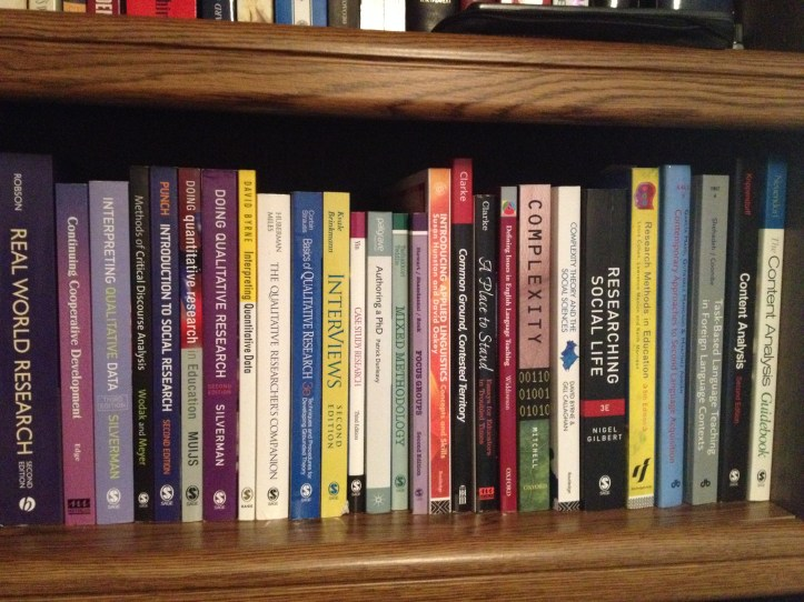 Shelf of books on research methods