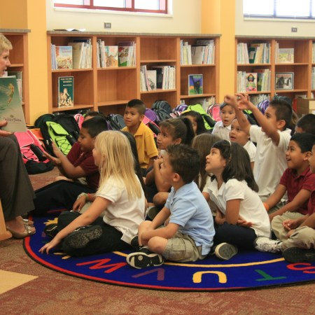 Janet Barresi reads to first-graders at Cesar Chavez Elementary School in Oklahoma City on Thursday, Sept. 29, 2011.