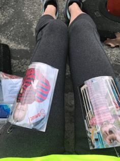 Pics of Samuel and Phillip on Amy Harris's pants legs f