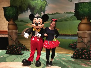 Mickey Mouse (on left) with Chassity Choate (on right)