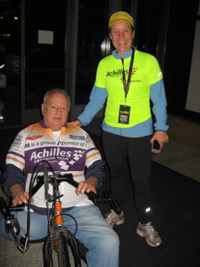 Dick Traum joins the Nashville chapter for the 2013 Country Music Marathon. Left: Dick Traum runs at the beginning of Achilles' existence. Right: Dick Traum joins the Nashville chapter in the 2013 Country Music Marathon.