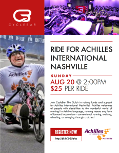 Cyclcebar flyer with Achilles Athlete $25 per cycle Sunday August 20 2pm