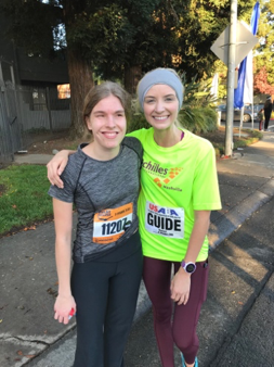 Guide Rachel and Athlete Annie Donnell at the finish line