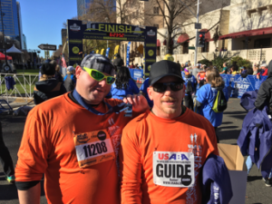 from left to right Athlete Dwaine Jones and Guide Randy Hodge