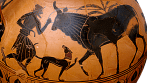 Greek Black-Figure amphora, ca. 540–530 BCE depicting Hermes and Io (in the form of a cow). Source: Wikimedia Commons