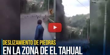Deslizamiento de piedras en la zona de El Tahual