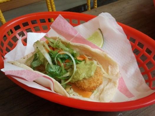 Camarones - Spice-crumbed Tiger Prawns on pickled Sabbage, Salsa Verde and Toasted Pepitas ($6)