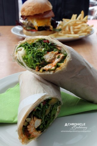 Tandoori Chicken Wrap w. Lettuce, Cucumber, Onion and Mango Salsa ($9.50)