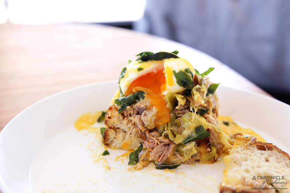 Mr and Mrs Anderson - Eggs benedict - pressed slow cooked pork shoulder and leek, sage hollandaise, two poached eggs and fried sage ($19.50)