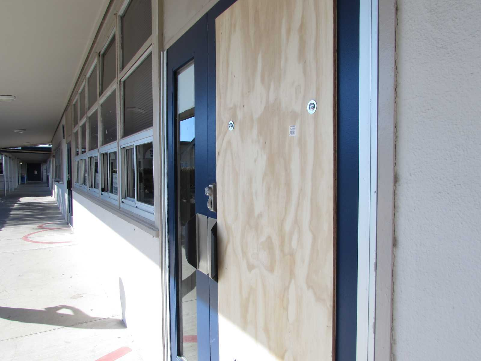 School+administrators+used+a+wooden+plank+as+a+ & Vandalism on campus: main office door broken \u2013 The Stinger