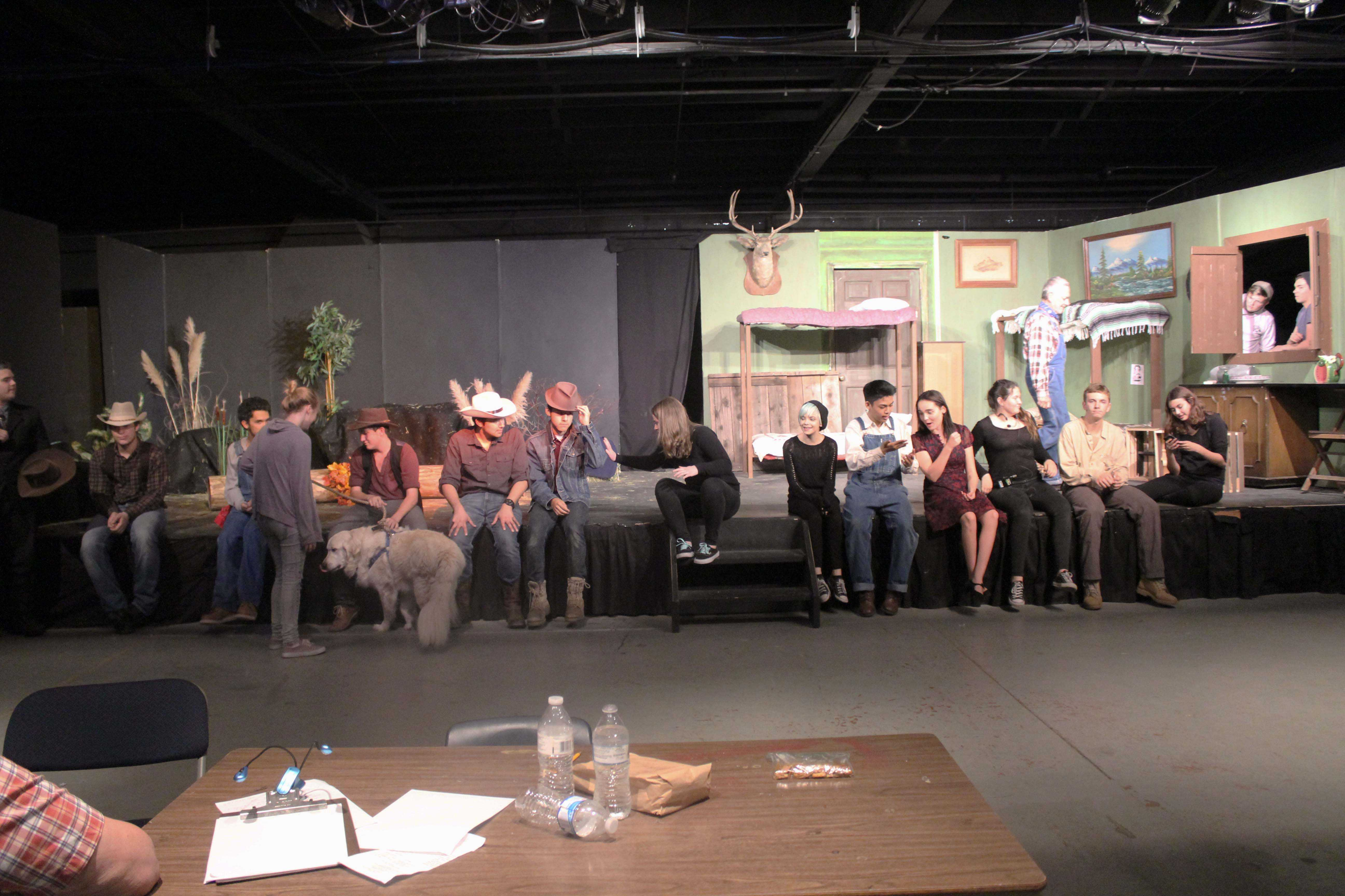 """The cast and crew from the Fall production of """"Of Mice and Men."""""""