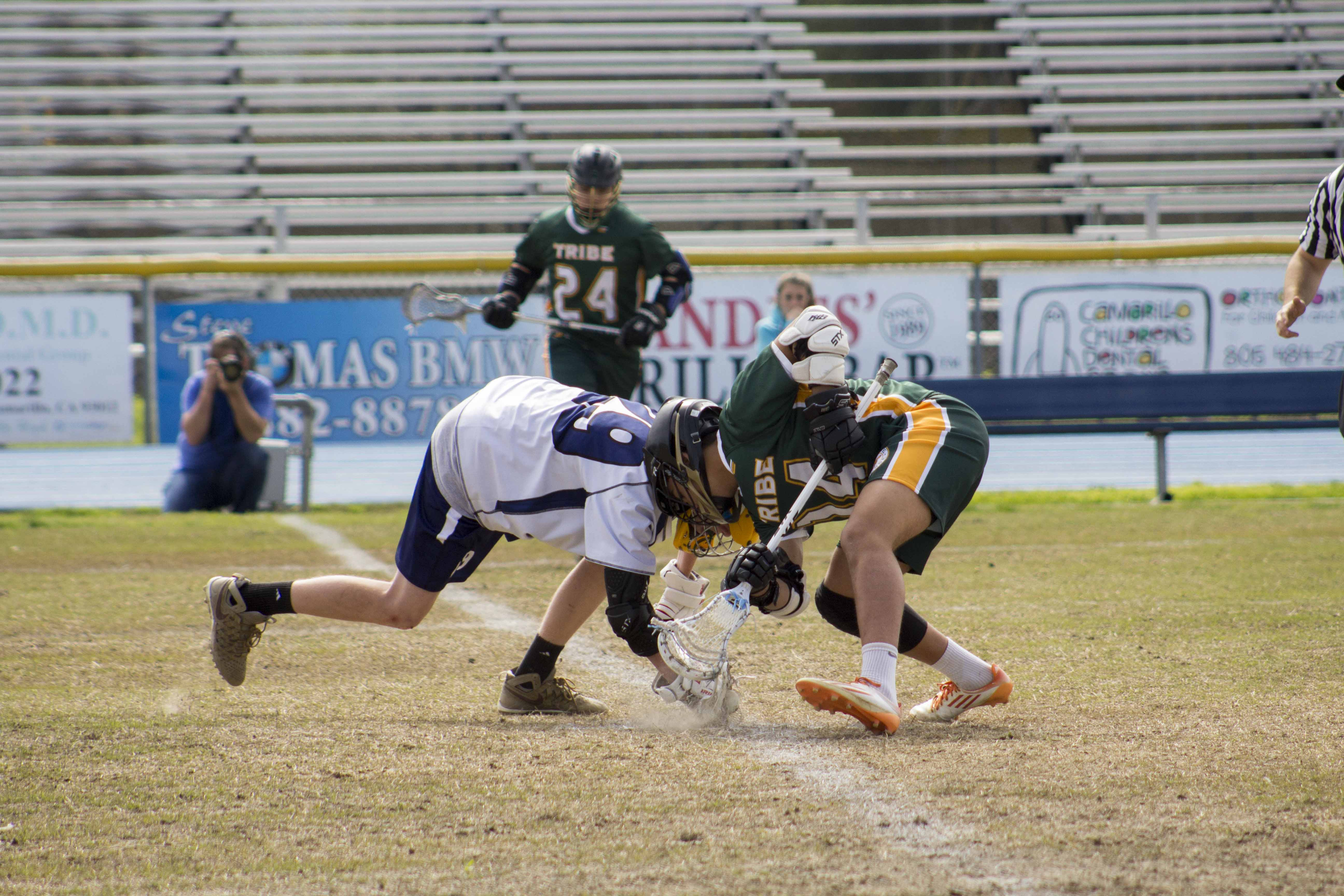 Brody Stoughton faces off with a Pasadena Tribe player.