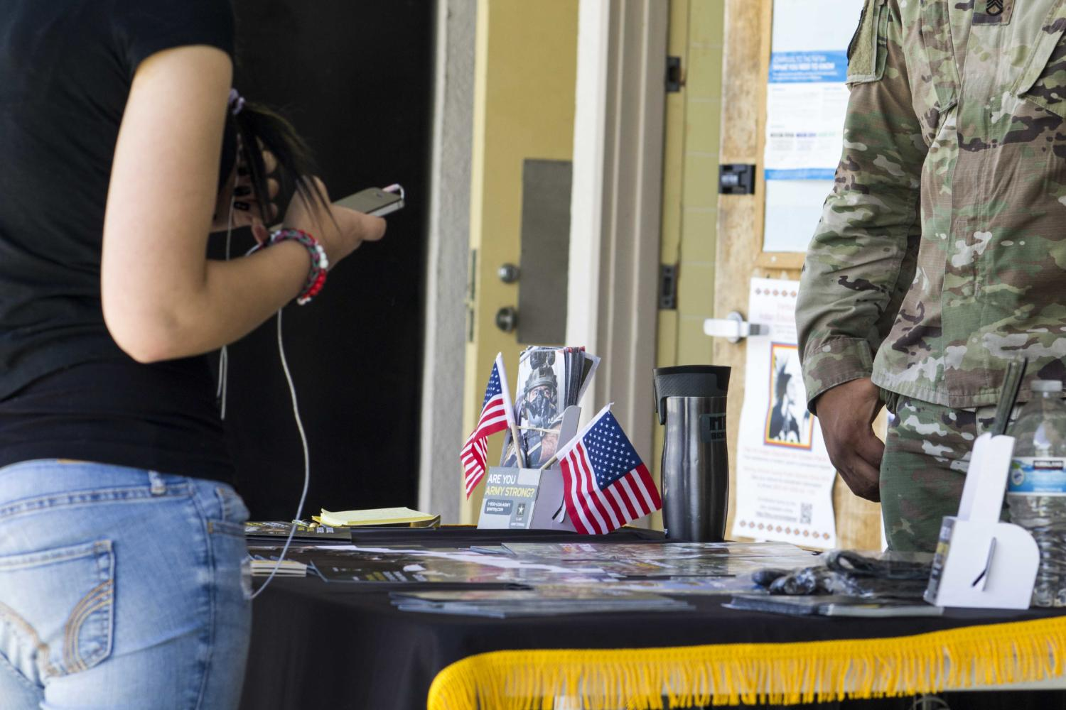 A U.S. Army stand is placed in front of the College and Career Center throughout the school year to inform students about joining the military in the future.