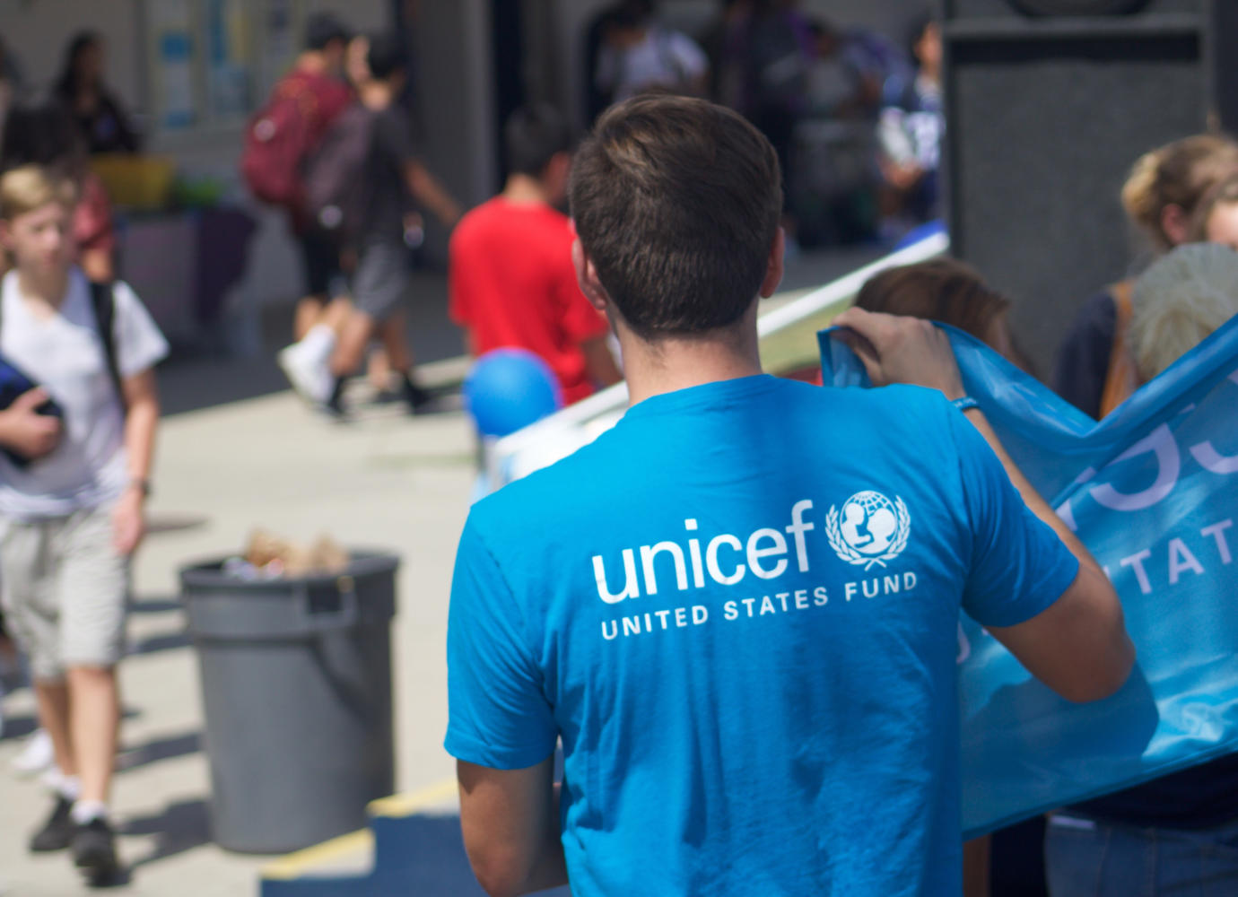 Unicef wanders around Club Rush in search of new members.