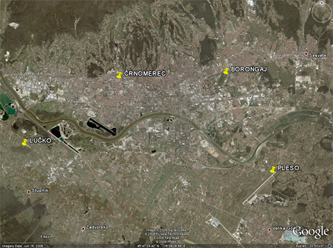 "A Google Earth image of modern Zagreb, with Borongaj - and the other three Zagreb aerodromes - ""pinned down"" (the position of Črnomerec being approximate). Six kilometers away from the city center, Borongaj was once well outside of town..."