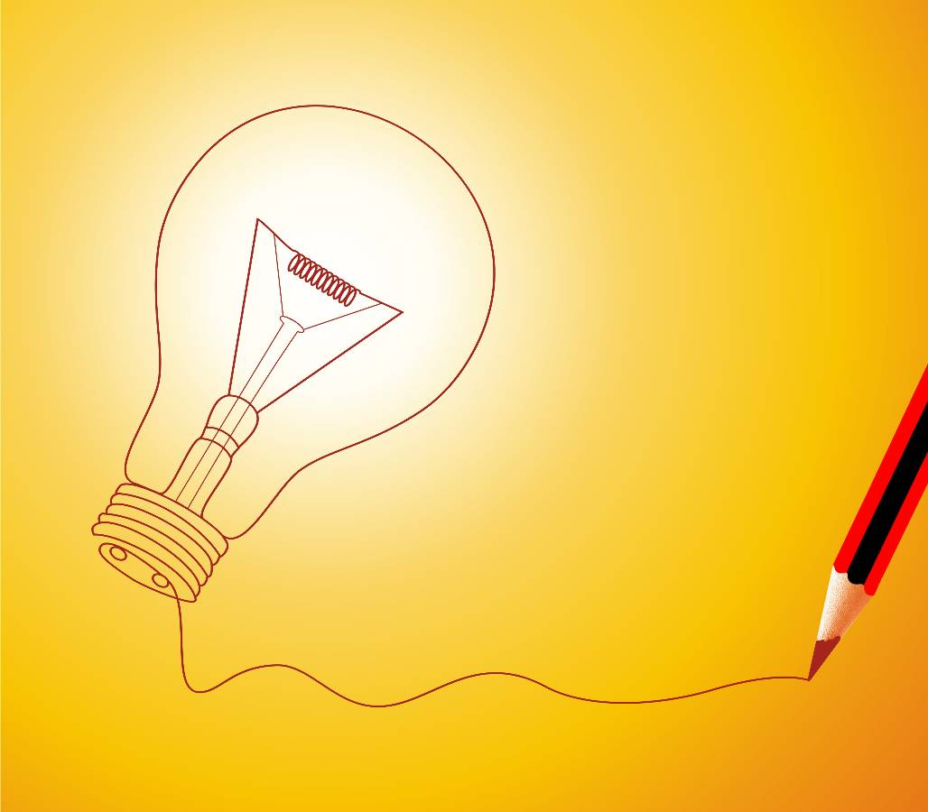 Illustration for how to generate ideas - glowing lightbulb and pencil