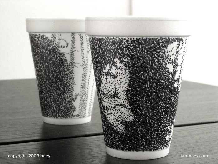 Sharpie Art on Styrofoam Cups (79 pics)