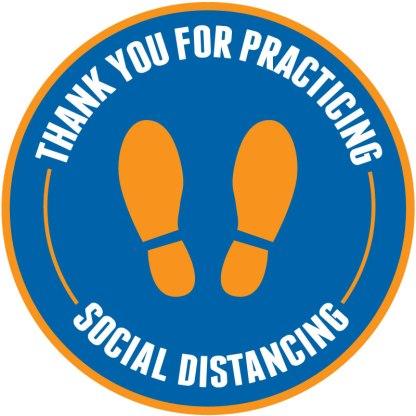 Footprint Social Distancing Floor Decals - Blue