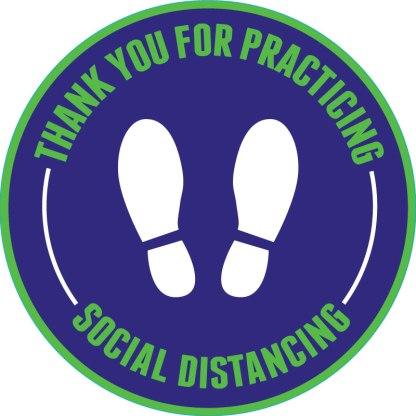 Footprint Social Distancing Floor Decals - Purple