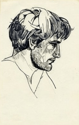 Ted Hughes, 1956 (pen & ink on paper)