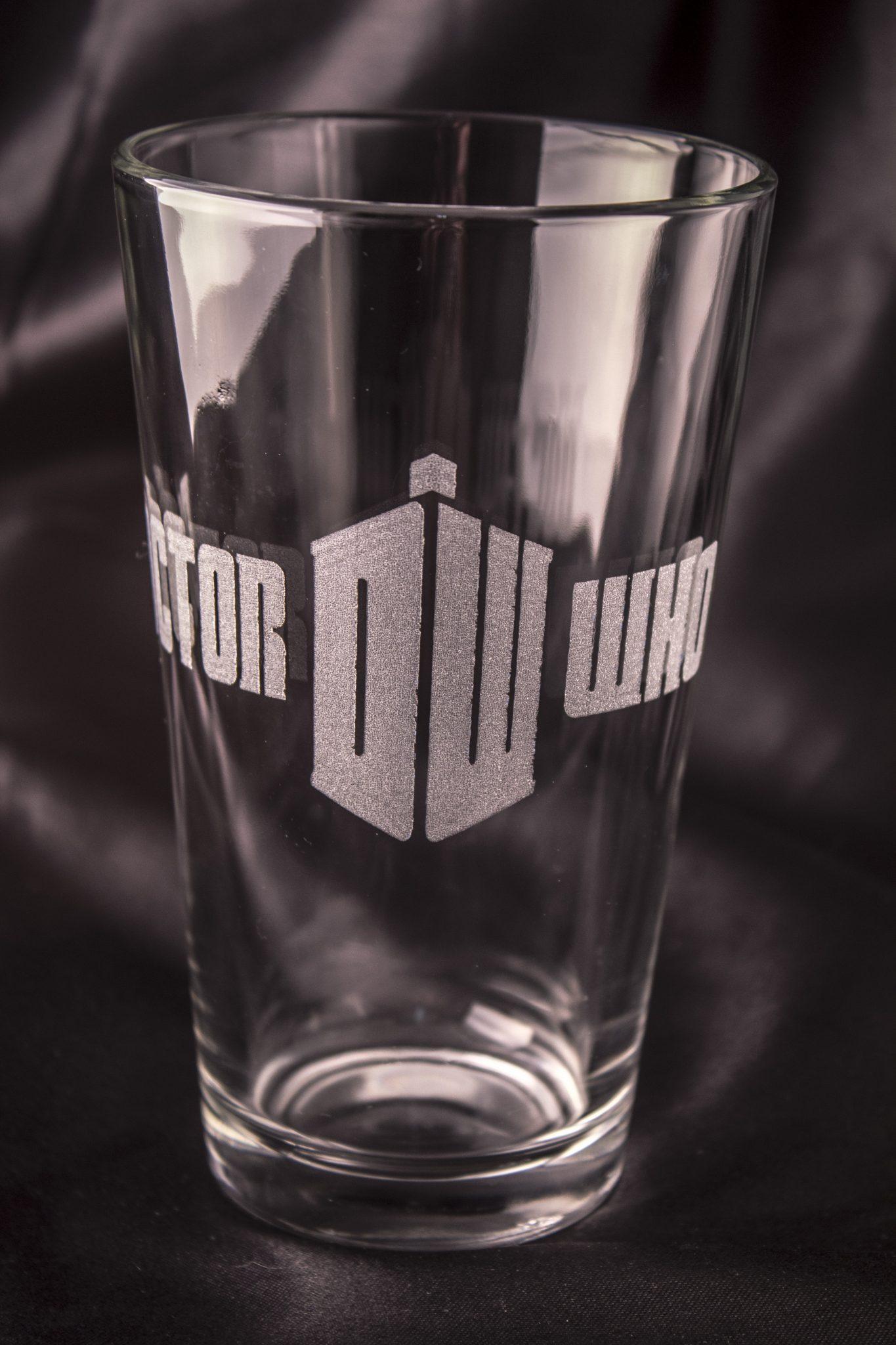 e75eaa13520 Doctor Who Pint Glass – Doctor Who Logo – Acid Ink Designs