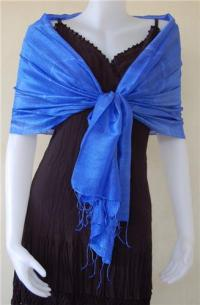 Thai Silk Scarf Wrap Shawl One Electric Blue - Beautique Thai
