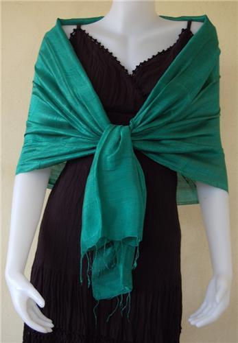 Thai Silk Scarf Wrap Shawl One Color Light Jade Green Beautique Thai