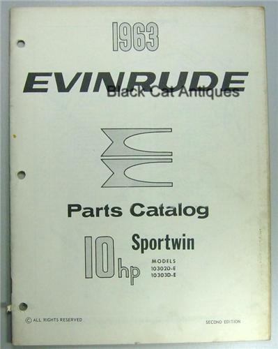 Original Evinrude Parts Catalog 10 Hp Sportwin Models