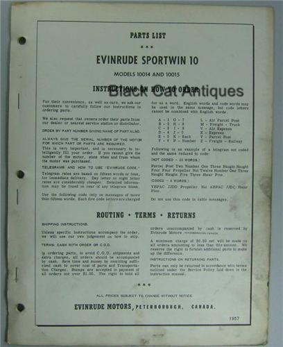 Original Evinrude Sportwin Parts List 10 Hp Motor