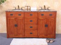 "60"" MISSION STYLE WOOD DOUBLE BATH VANITY WITH GRANITE ..."