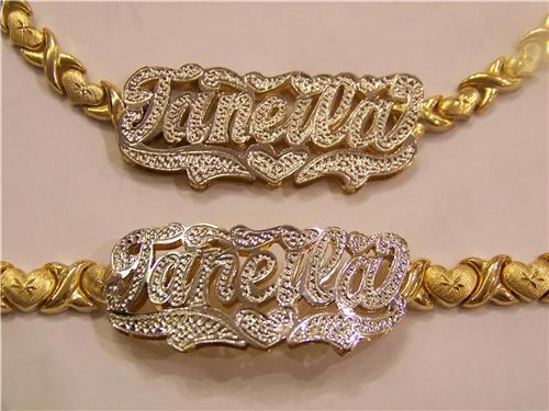 Personalized 14k Gp Double Name Plate Xoxo Chain Bracelet