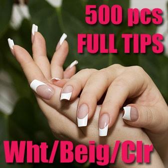 500 Pcs Acrylic Fake False French Nail Art Half Tips White Color