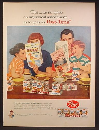 Magazine Ad For Post Cereal Post Tens Variety Pack Family Planning A Vacation 1957 Magazines Ads And Books Store