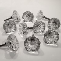 Antique Vintage Style Clear Glass Cabinet Knobs Pulls 1