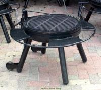 "24"" Outdoor Fire Pit With Grill Top, Made In Texas"