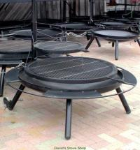 "42"" Outdoor Fire Pit With Double Grill Top, Made In Texas"