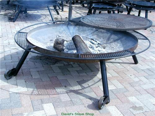 "72"" Outdoor Fire Pit With Grill Top, Made In Texas"